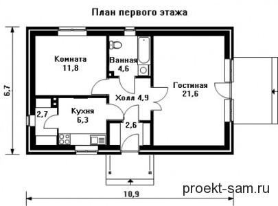 план дома 6x11