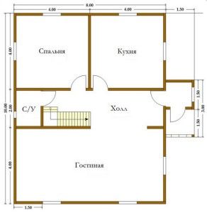 план дома 8х10 из бруса