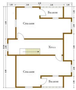 план второго этажа деревянного дома 8х10