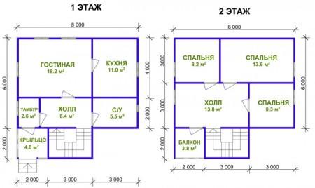 план дома 8х8