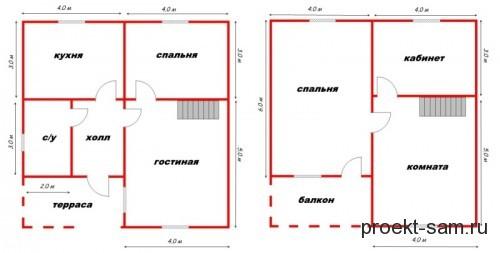 план дома из бруса 8x8