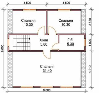 планировка деревянного дома из бруса 9х9