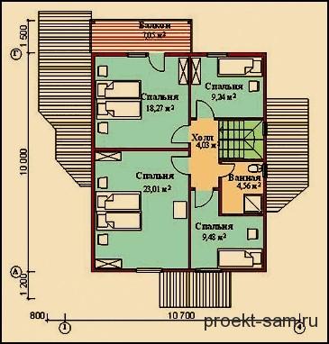 планировка дома из бруса 10x10