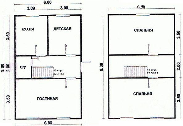планировка дома из бруса 6х9