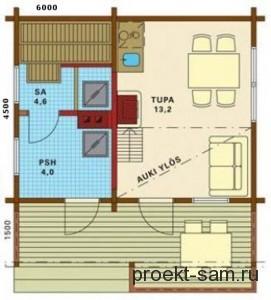 планировка дома из бруса 6 на 6