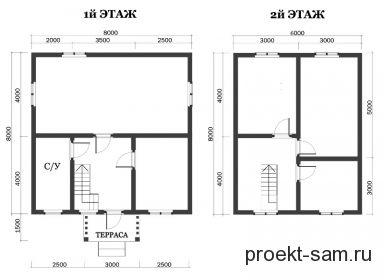 планировка двухэтажного дома из бруса 8х8