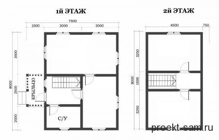 планировка дома с ломаной крышей 6x8