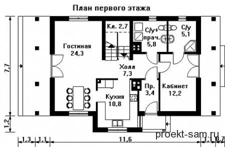 план небольшого дома из пеноблоков