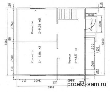 планировка дома с мансардой 6x6