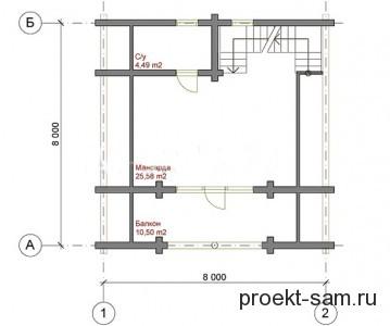 план одноэтажного дома с мансардой 8x8