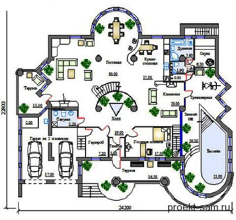 план дома с тренажерным залом 1 этаж