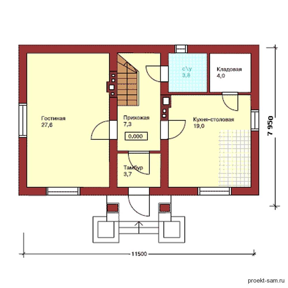 план дома с большой кухней-столовой
