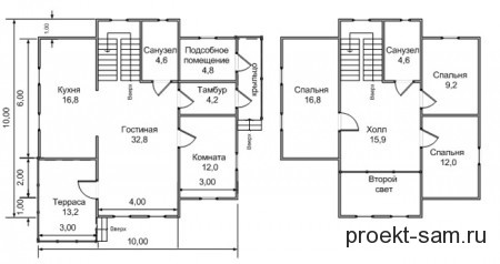 планировка двухэтажного дома 10x10