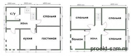 план двухэтажного дома 8x10 из бруса