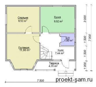план двухэтажного дома из деревянного бруса