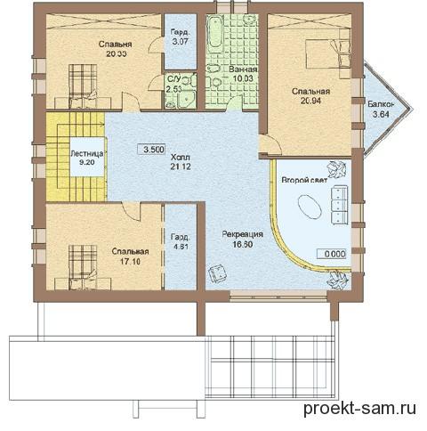 план одноэтажного кирпичного дома с мансардой