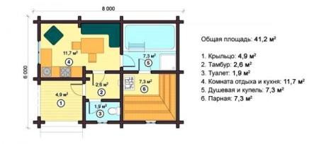 план небольшой бани с бассейном