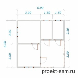 план одноэтажного дома из бруса 6x6