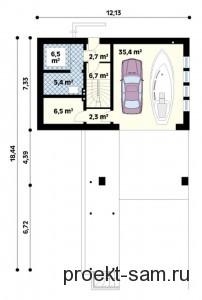 планировка одноэтажного дома с мансардой и гаражом