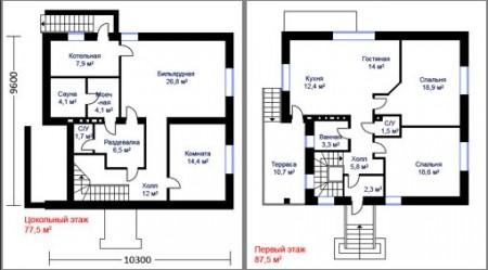 план одноэтажного дома с подвалом