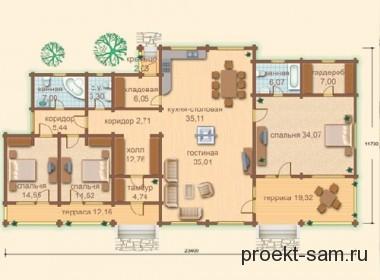 план одноэтажного коттеджа из бруса 23x12