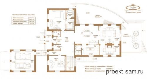 план особняка 1 этаж