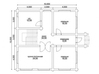 план 1 этажа дома 10 на 10