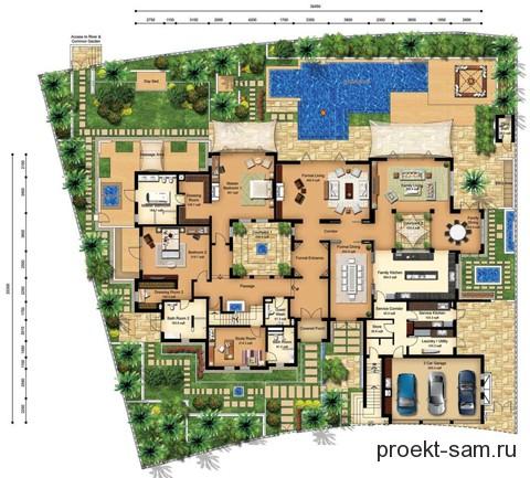 план виллы 1 этаж