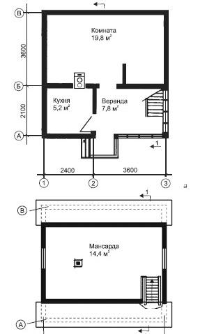 планировка мансарды 6х6 метров
