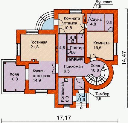 планировка дома с башней
