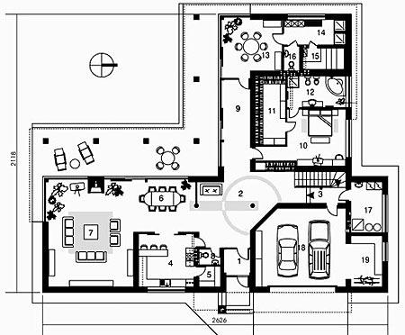 планировка углового дома