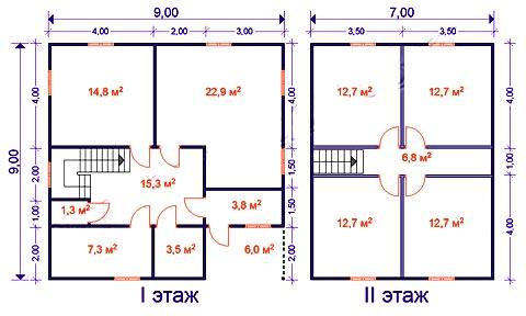 план дома 9 на 9