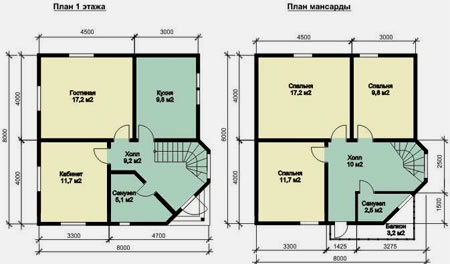 планировка дома 8x8