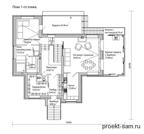 план 1 этажа двухэтажного коттеджа