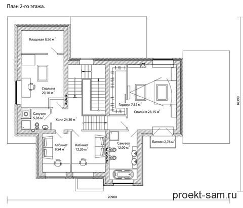 план 2 этажа двухэтажного коттеджа