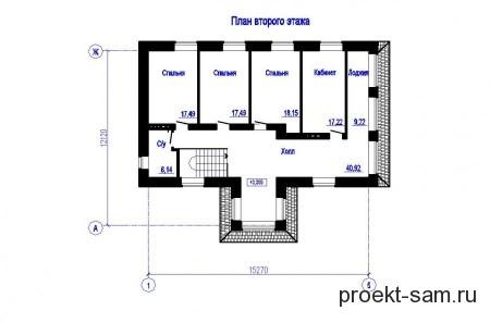 план 2 этажа двухэтажного кирпичного дома с гаражом