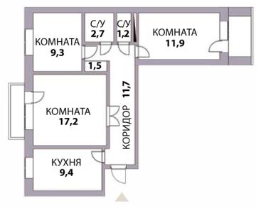 план трехкомнатной квартиры до перепланировки