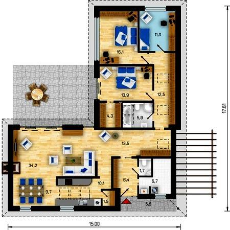 Дом один этаж из клееного бруса фото