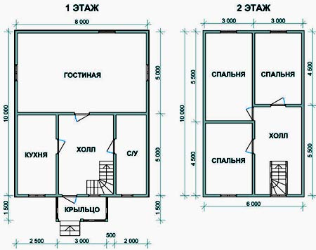 план дома 8х10