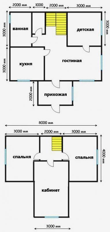дом из пеноблоков 6х8