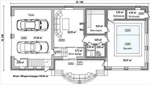 план дом гараж баня
