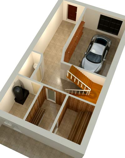 планировка цокольный гараж