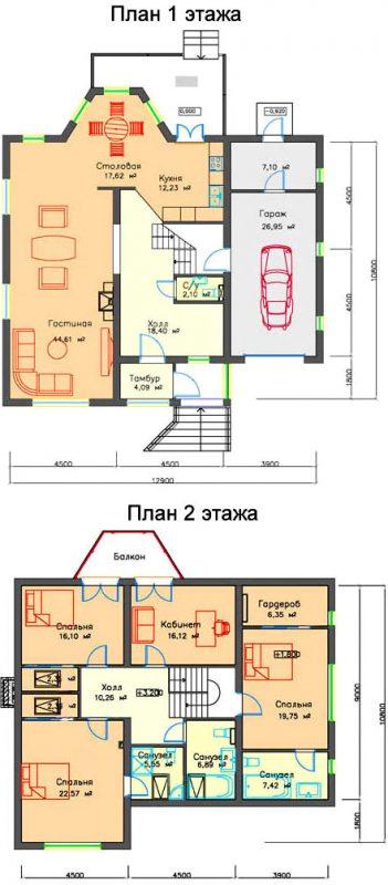планировка коттеджа 11х13