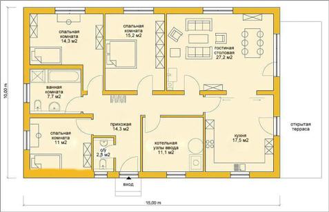 планировка одноэтажного дома 10x15