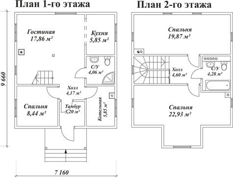 планировка двухэтажного дома 10x7