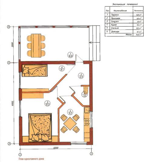 планировка летнего домика с террасой