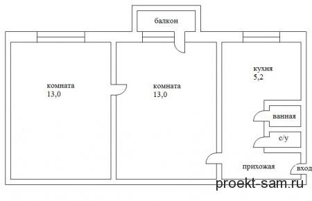 планировка 2-х комнатной хрущевки по типу трамвай