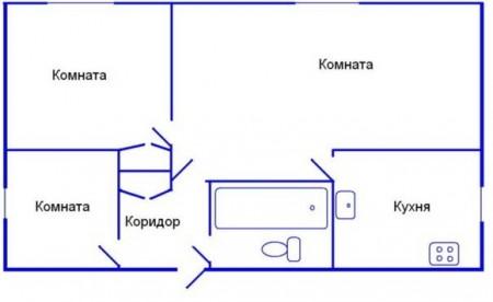 планировка трехкомнатной хрущевки