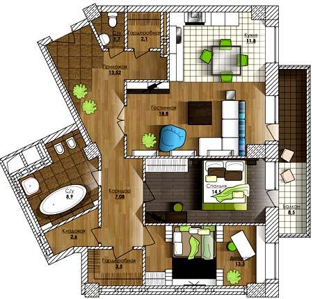 План схема 3 комнатной квартиры 157