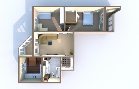 планировка трехкомнатной угловой квартиры